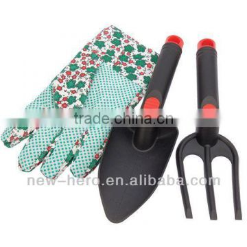 DIY Series Garden 3 Pcs Nylon Hand Fork Trowel & Glove (M) Set