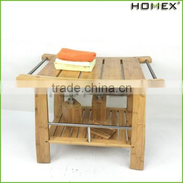 Bamboo Shower Seat with Storage Shelf Homex BSCI/Factory