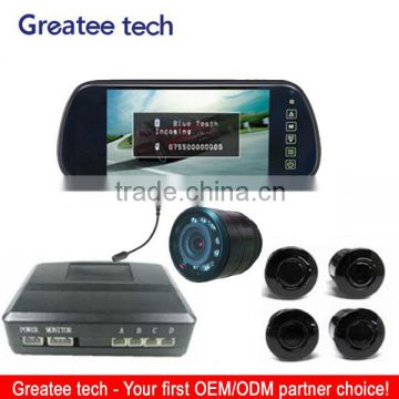 7 inch display mirror video parking sensor system with camera and bluetooth