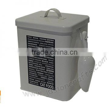 Laundry Power Storage Box / Laundry Tin with cream & grey color