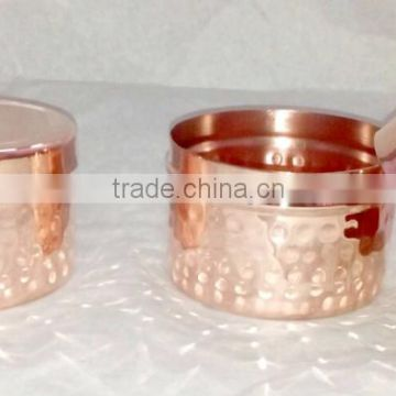 100% PURE COPPER HAMMERED FINISH CANDLE JAR, FANCY COPPER CANDLE CONTAINER