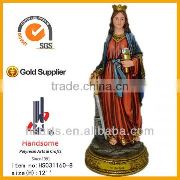 "12""Resin Saint Barbara religious statue with resin base"
