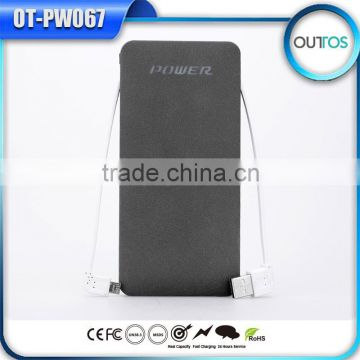 Promotional Dual Usb Charger Built-in Cable Power Bank Cell Phone Charger 10000mah