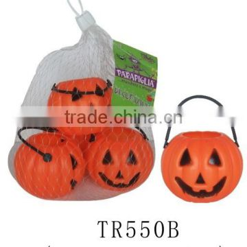 Eco-friendly mesh bag packing halloween pumpkin bucket set with handle
