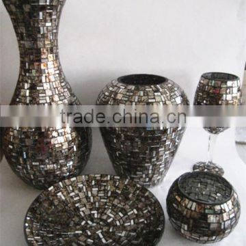 black and silver tall glass flower vases