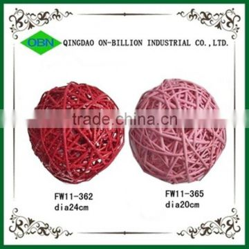 Natural hand woven decorative colored round rattan ball