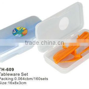 plastic cutlery storage box with fork and knife