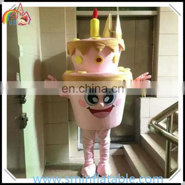 High quality birthday cake costume, plush cake mascot costume, advertising cosplay costume for party celebration