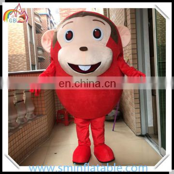 High quality red monkey mascot costume, lovely plush animal cosplay costume for promotion