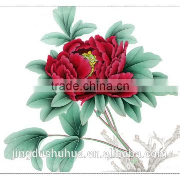 Factory Price Skilled Artists Handmade Beautiful Peony Painting on Silk