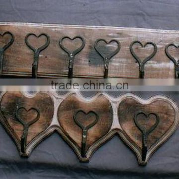 Wooden Wall Hook with Ceramic Knob - Heart Shape,Designer Wall Hooks
