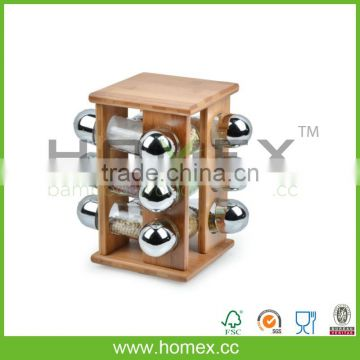 360 Good Rotatable Bamboo Spice Jar And Spice Rack/HOMEX-FSC,BSCI
