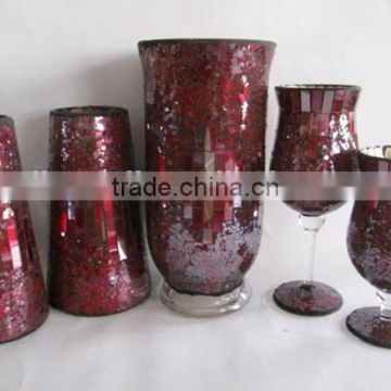 Best selling red wholesale round mirrored glass mosaic vase for wedding decoration