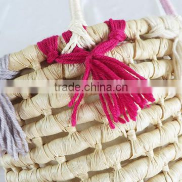 Natural corn husk woven cute baby basket set for gift