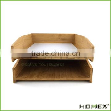 Stackable bamboo office paper tray Homex-BSCI