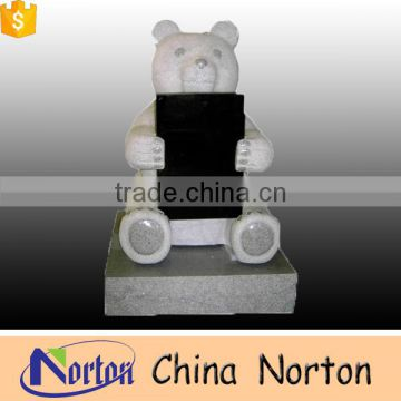 Customized china black granite baby little bear modelling baby monuments tombstones NTGT-069L