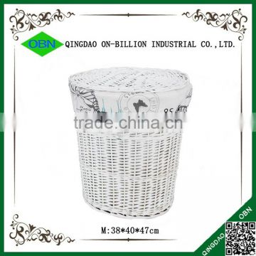 Wholesale white wicker large laundry hamper with butterfly lining