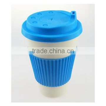 Decal Printing Bamboo Fiber Drinkware Biodegradable Coffee Cup with Silicon Cover