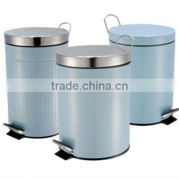 Blue Office Trash Bin Set of 3 Gialvanized Steel With Powder Coating Push Bin Factory