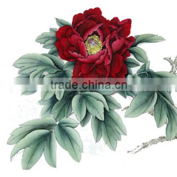 Handmade Peony painting - Silk scroll traditional wall hanging decor