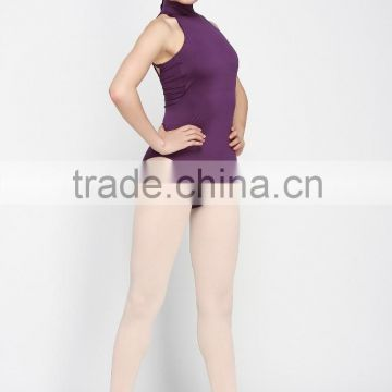 D005523 Shiny purple halter sleeveless jumpsuit women ballet leotard