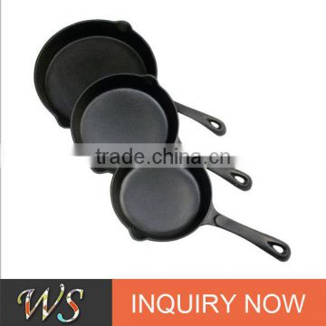 WS-FP06 Factory Price Pre-seasoned Cast Iron Skillet With Long Handle, Cast Iron Fry Pan