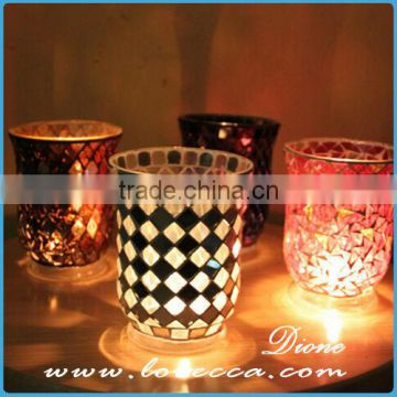 Exquisite Design cylinder shaped Glass mosaic candle jar