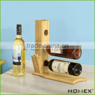 Bamboo chef wine bottle holder/ wine display rack Homex-BSCI