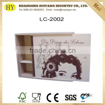 custom 3 bottles wine wooden packaging box wholesale