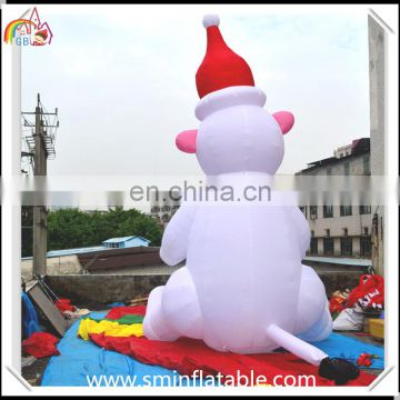 Popular Christmas inflatable polar bear with gift box for promotion christmas decoration