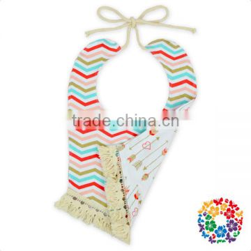 Double side designs print tassel baby bandana bib