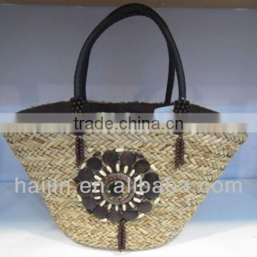 natural seagrass handmade bag with PU handle