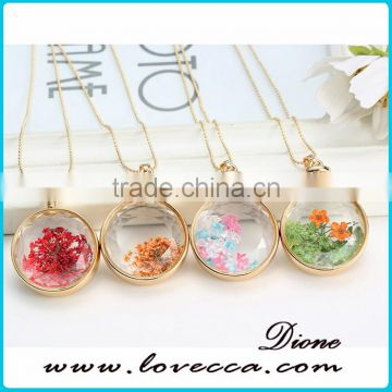 Wholesale newest dried flower pendant women gold memory necklace