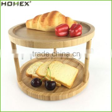 2 Shelf Bamboo Dessert Candy Snack Holder Serving Tray/Homex_FSC/BSCI Factory