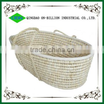 Hot sell straw woven undressed baby carry basket