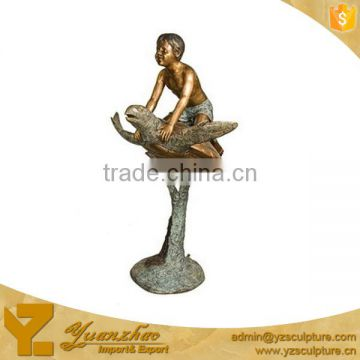 Garden Bronze Boy on Turtle Fountain GBF-C003V