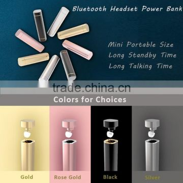 2017 New super mini wireless bluetooth headset with power bank 2 in 1