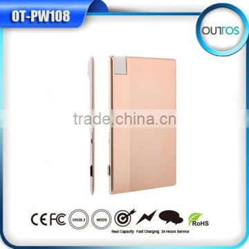 Good Design Super Slim Credit Card Style Aluminium Power Bank With TF Card Slot