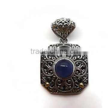 925 sterling silver handmade genuine tanzanite precious gemstone pendant with 18 gold accents