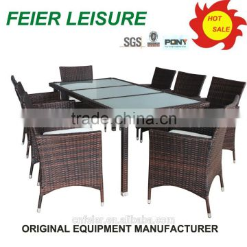 Outdoor rattan/wicker furniture wrought iron garden table chair