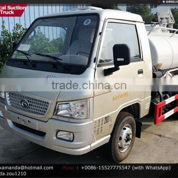 Foton Forland 4*2 mini small new fecal suction truck 2000-3000 liters fecal suction truck pump fecal truck