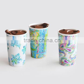 double wall mug with lid,ceramic double wall travel mug with gold decal,ceramic travel mug with lid and printing