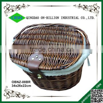 2015 cheap white bicycle wicker basket with lid