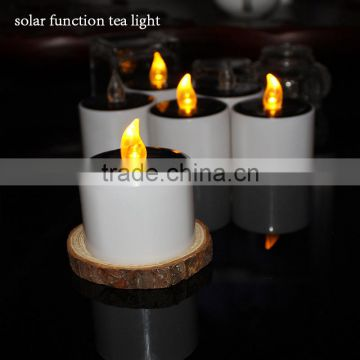 Solar Power Rechargeable LED Tealight Candle Flameless,Amber Yellow Light,Perfect Table Top Decoration For Home,Restaur