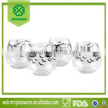 clear glass tea cup espresso cup paper halloween transfer
