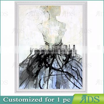 Handmade Modern Abstract Human Woman Figure Oil Painting Back