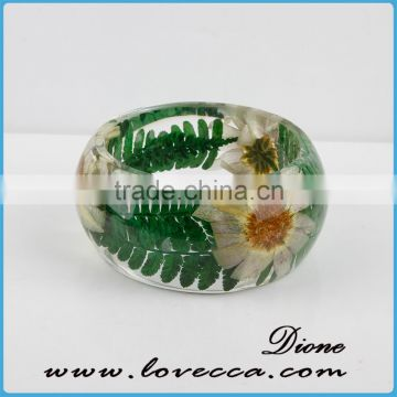 Natural dry flowers hand women bangles clear pressed flower resin bangle bracelet