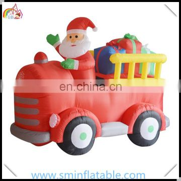 wholesale inflatable santa claus , inflatable santa truck with christmas gift for promotion from china supplier