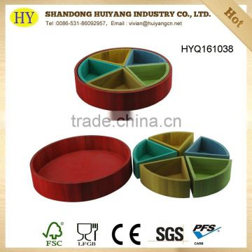 Round 5 compartment colorful serving wood tray for cookies