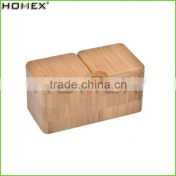 100% Bamboo Double Salt Box, Bamboo Container with 2 Compartments and Magnets For Secure Storage/Homex_Factory